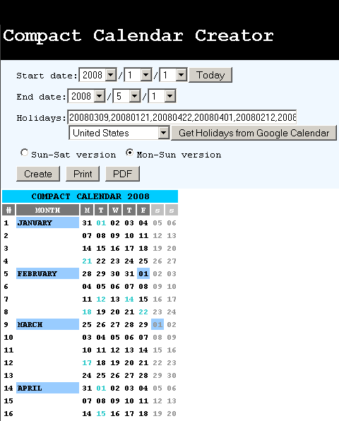 Online Calendar Creator