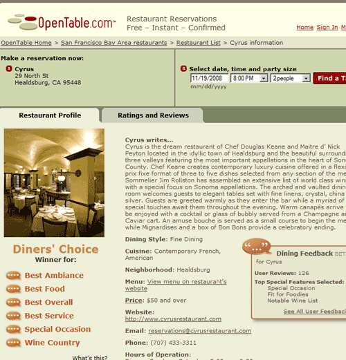 book table restaurant