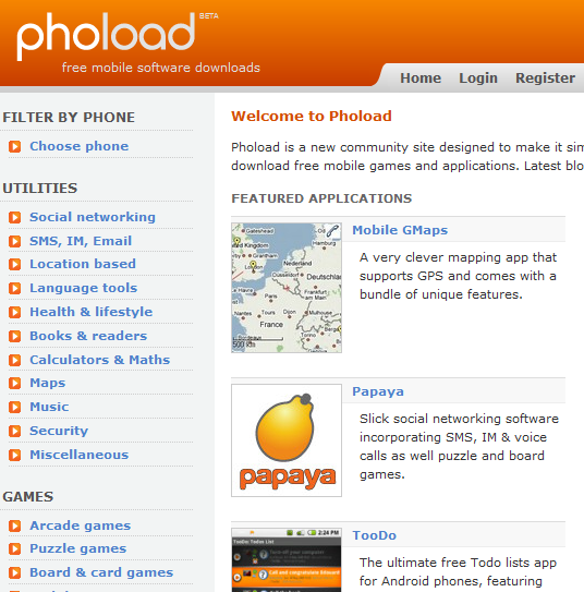 phoload1   Phoload: Download Free Software For Your Mobile Phone