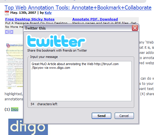 Send Bookmarks to Facebook or Twitter