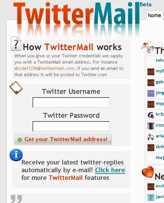 twittrmail   TwitterMail : Post To Twitter Via Email