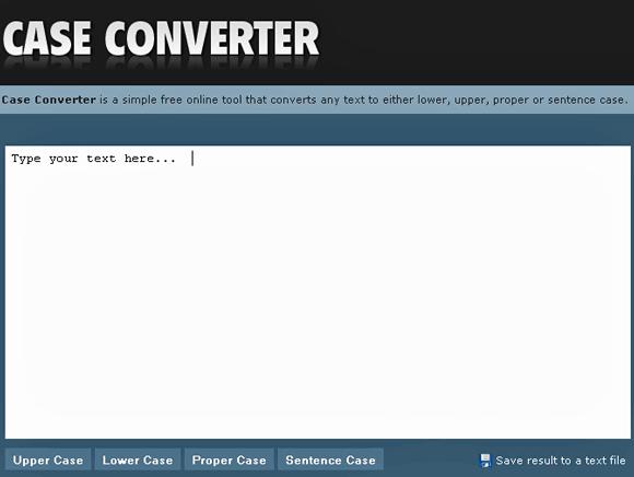 Convert text to upper case