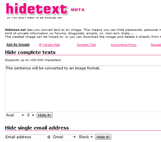 hidetext1   HideText: Convert Text or Email To Image