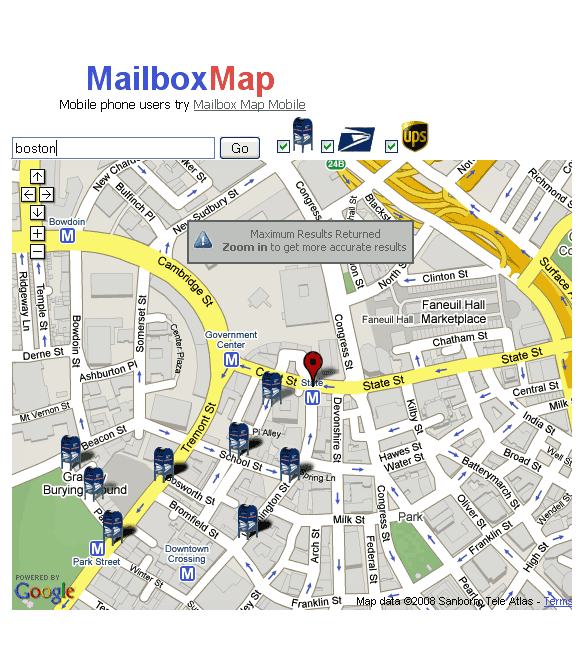 mailboxmap   MailboxMap: Find Nearest Mailbox Locations