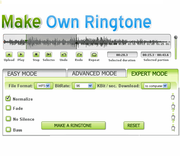 makeownringtone1   MakeOwnRingtone: Make Ringtones From MP3 Songs