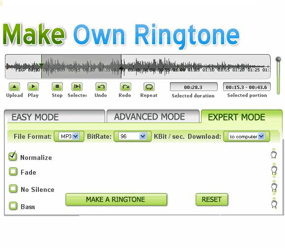 makeownringtone1   MakeOwnRingtone: Make Ringtones From MP3 Songs