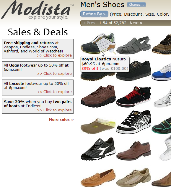 visual shopping site