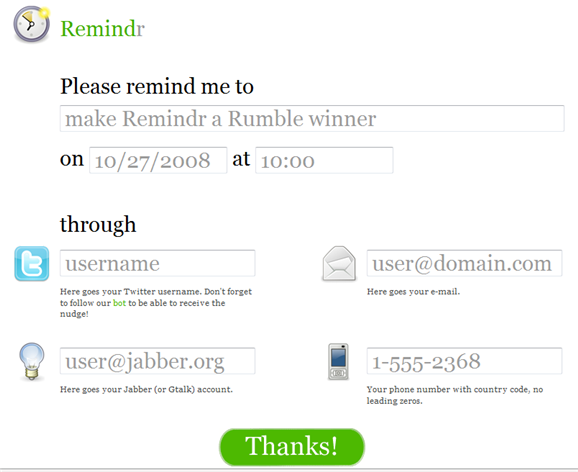remindr1   6 Cool Sites to Help You Keep New Years Resolutions In 2009