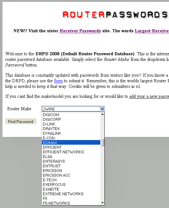 default password router