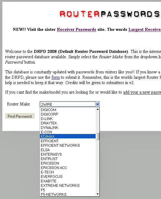 default password router