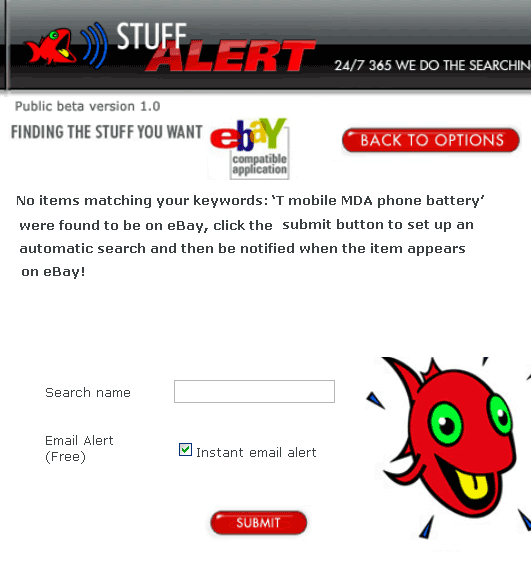 StuffAlert: Alerts You When Items You Want Are Listed On eBay