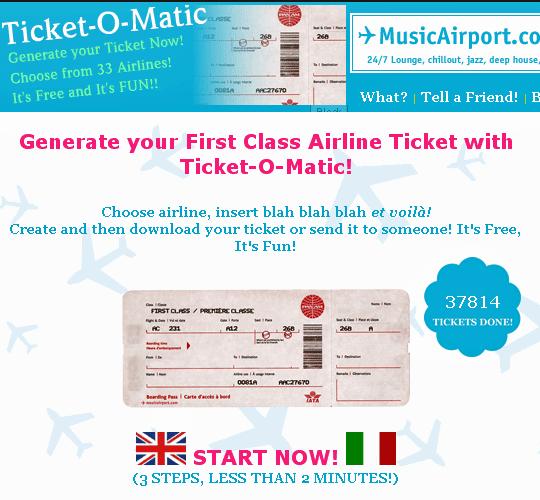tiketomatic   Ticket O Matic: Fake Airline Ticket Generator