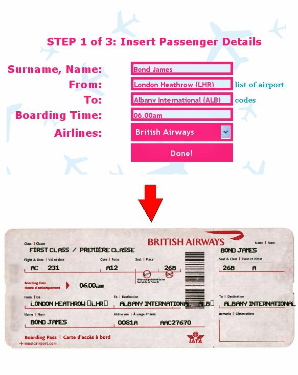 fake airline ticket generator