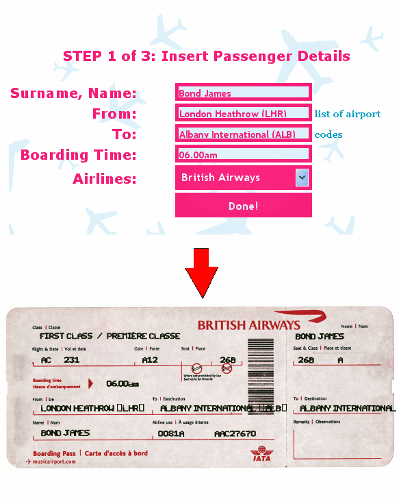 Ticket o matic fake airline ticket generator for Fake boarding pass template