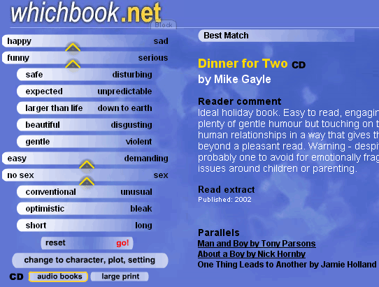 whichbook   WhichBook: Online Book Suggestion Tool