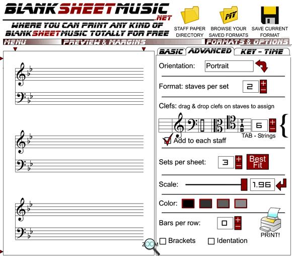 blanksheetmusic   BlankSheetMusic: Online Printable Music Sheet Maker