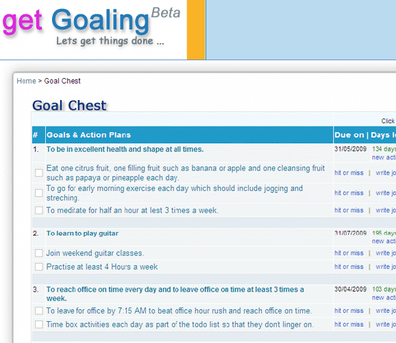 online goal tracking