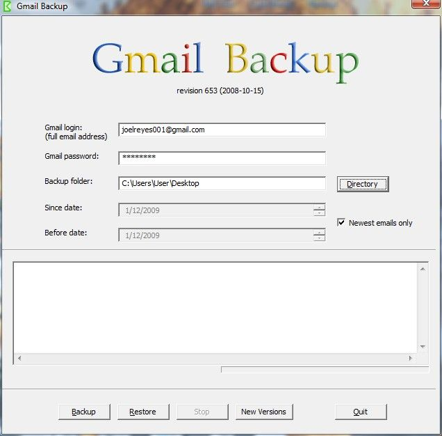 backup Gmail account messages