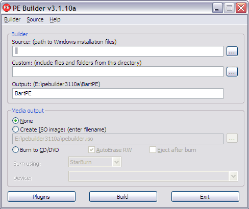 pe builder - create windows live cd