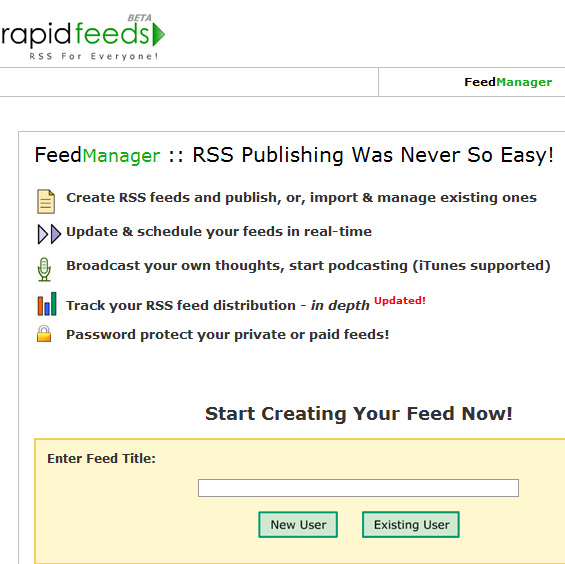create rss feeds for website