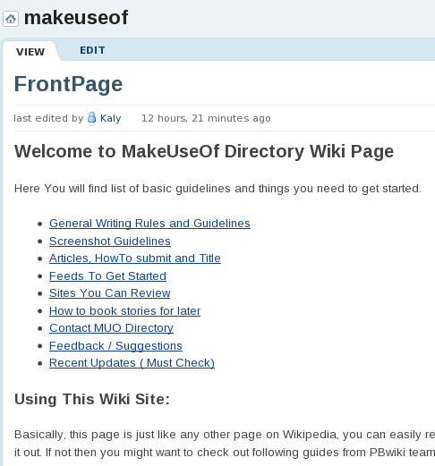 wiki style editor
