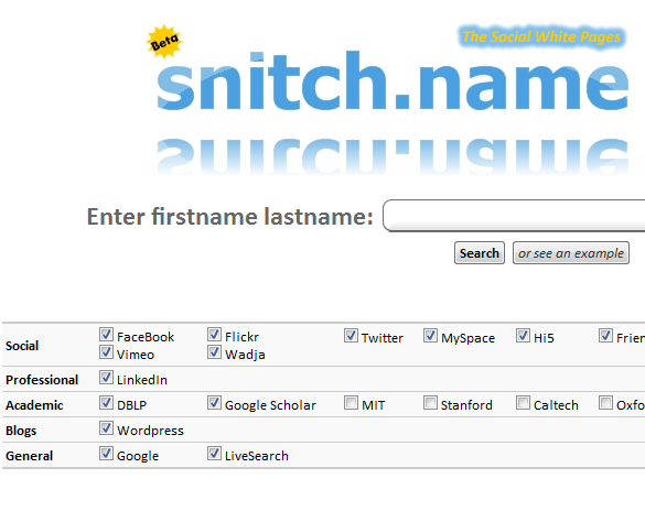 snitchname   Snitch.Name: Search Social Network Sites For People