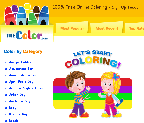TheColor: Easy Online Coloring Pages For Kids