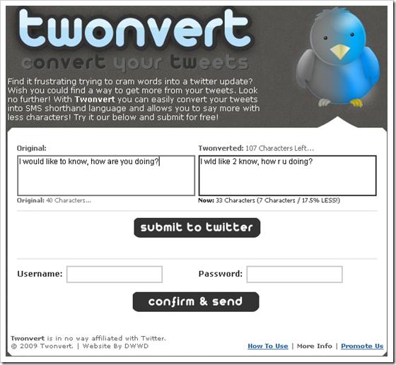 Twonvert: Turn Tweets to SMS Shorthand Language