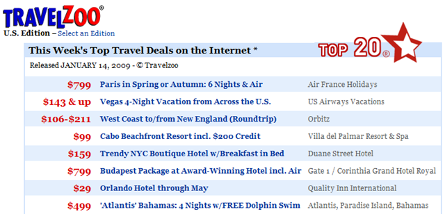 travelzoo - last minute travel bargains