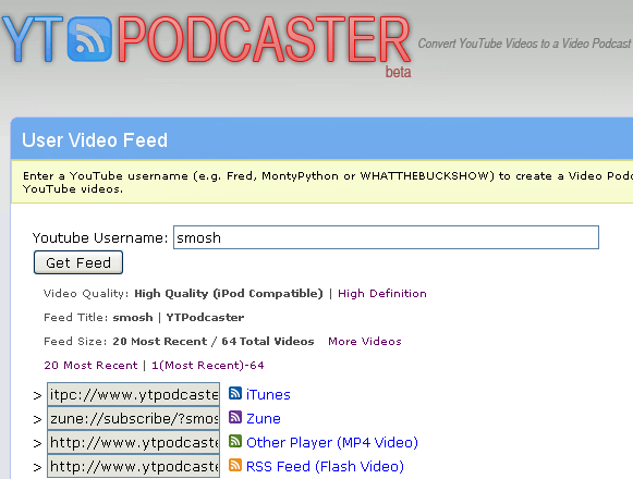 ytpodcaster   YTPodcaster: Turn YouTube Videos into Video Podcasts