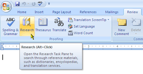 microsoft word research pane