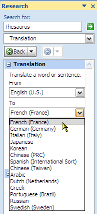 How To Make Use Of Research Feature in Microsoft Word 2007 5 translation
