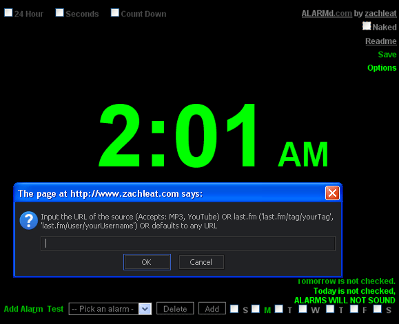 web based alarm clock