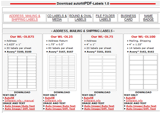 autofilltemplates   Autofill PDF Labels: Printable PDF Label Templates Free
