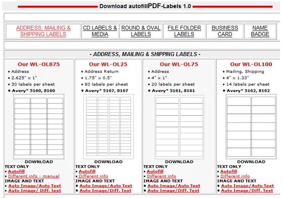 autofilltemplates   Autofill PDF Labels: Printable PDF Label Templates Free