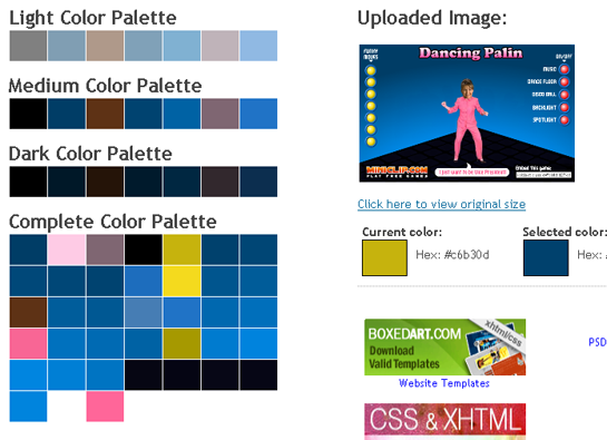 generate color palette from image