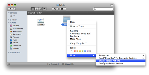 Establish File-Sharing & Notifications Between Networked Macs enable folder actions