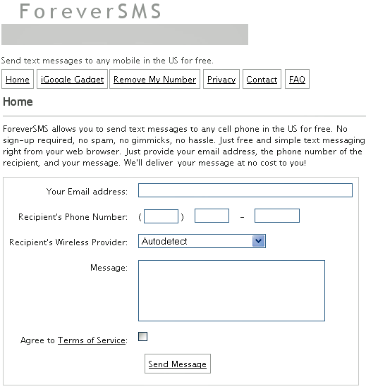 foreversms send free text messages to any phone in us