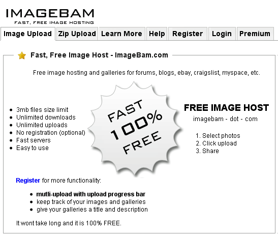 ImageBam: Unlimited Image Upload & Hosting Site