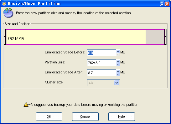 free partition resizer