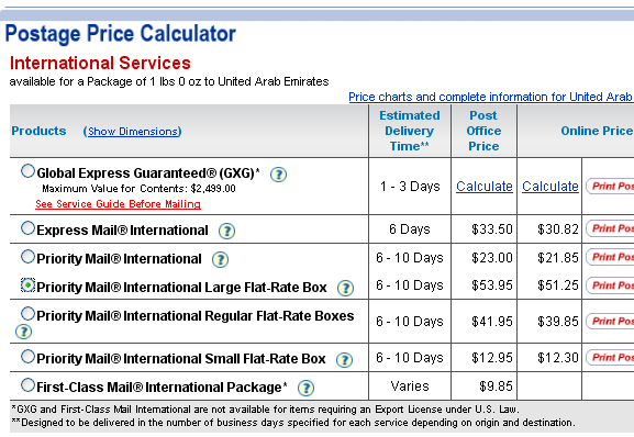 calculate postage rates
