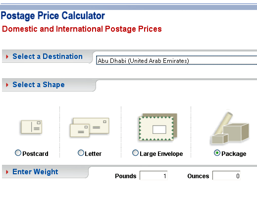 Mvc's experimental email blog: postage price calculator.