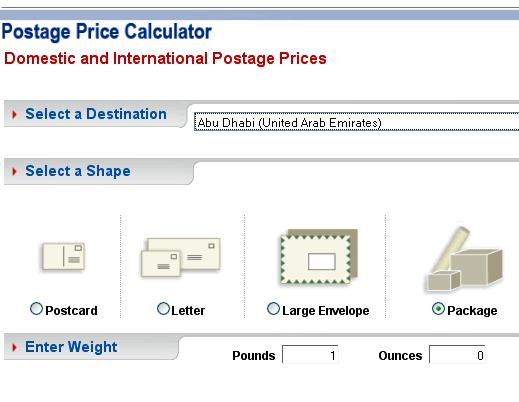 postal price calculator