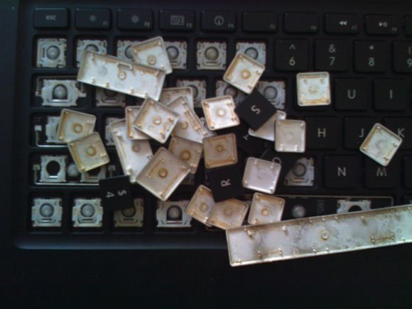 coffee stained macbook keys