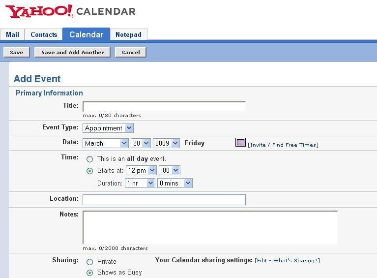 Organize Your Life With Yahoo Calendar addevent