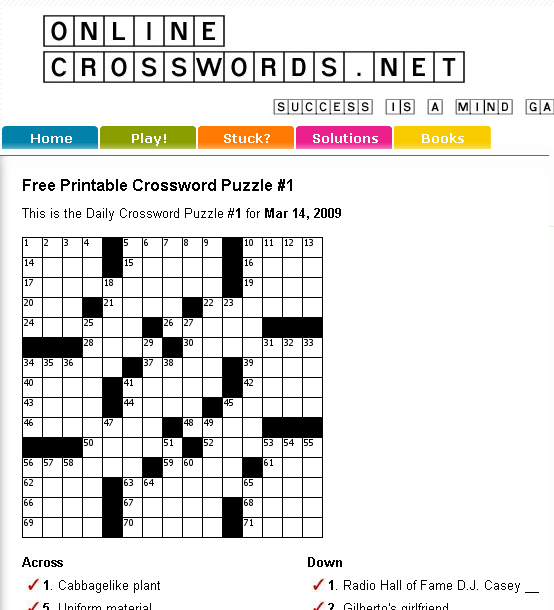 onlinecrosswords free printable crossword puzzles