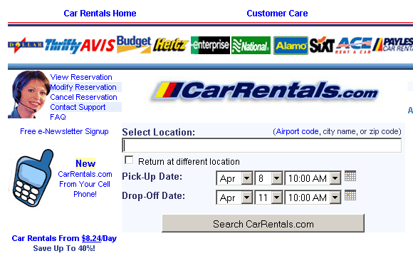 comparing car rental rates