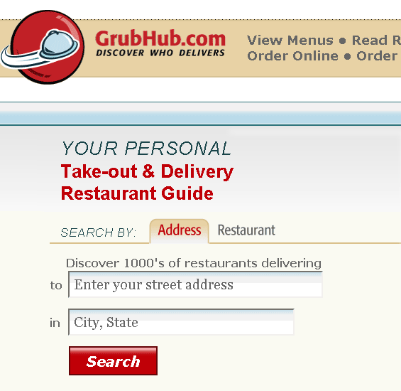 food delivery search engine