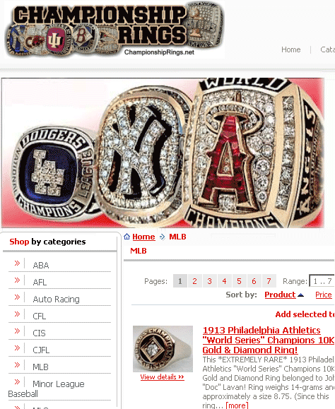 authentic championship rings