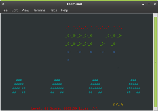 Play Games Inside Your Linux Terminal ninvaders